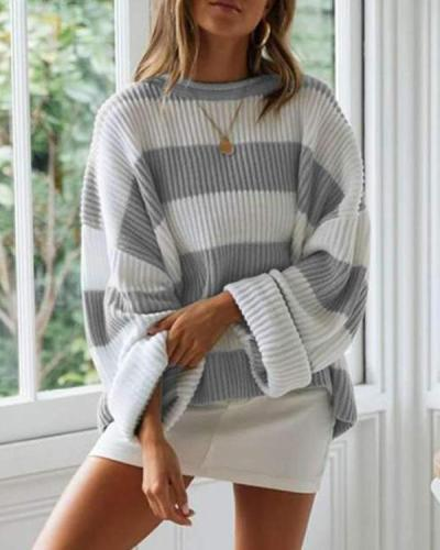 Fashion Loose Stripe Round neck Knit Sweaters