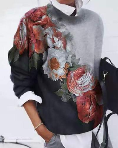 Women Flower Printed  Color Block Long Sleeve Tops