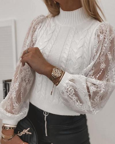 Elegant Lady Floral Lace Knitted Ribbed Tweed Balloon Sleeves Hollow Out Sweater