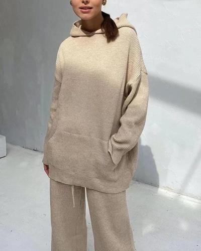 Winter Casual Loose Fit Loungewear Knit Hoodie&Pants Set
