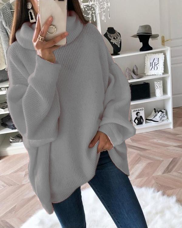 Hot Sale Casual Oversize Lantern Sleeve Rib Sweater