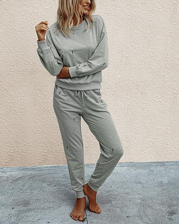 Fashion Casual Long Sleeve Round Neck Women Suit