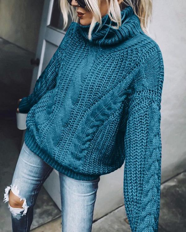 Turtleneck Chunky Cable-Knit Pullover Sweater