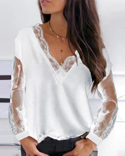 Casual Solid Lace V Neck Loose Fit Blouses