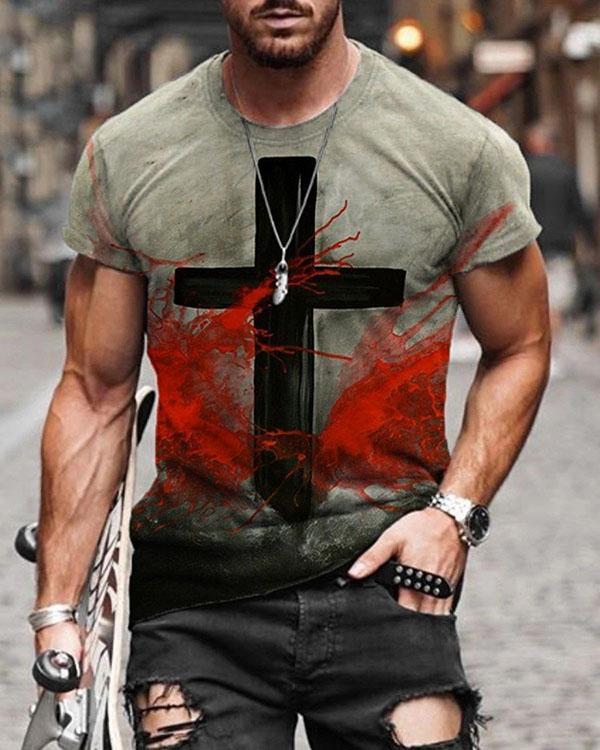 Mens Fashion Short Sleeve Print T-shirt