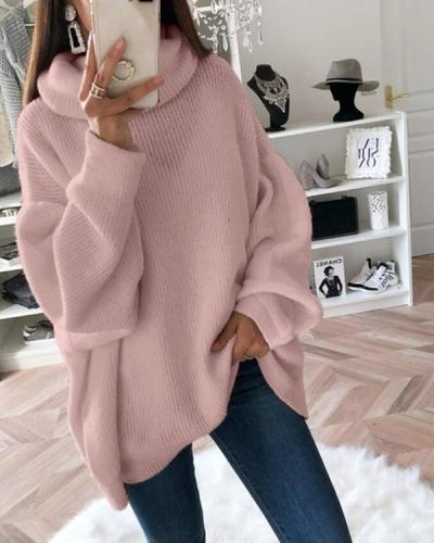 Hot Sale Casual Oversize Lantern Sleeve Rib Sweater