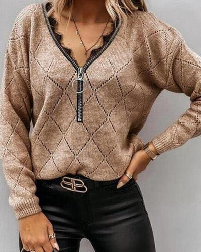 Women Zipper V neck Geometric Knit Shirts&Tops