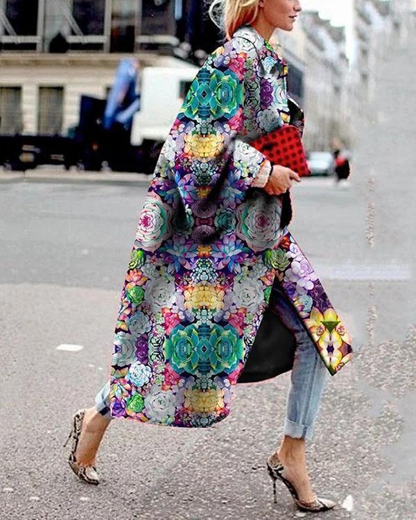 Vintage Flower Printed Long Sleeve Turn-down Collar Coat For Women