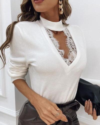 Elegant V Neck Lace Patchwork Blouses&Tops