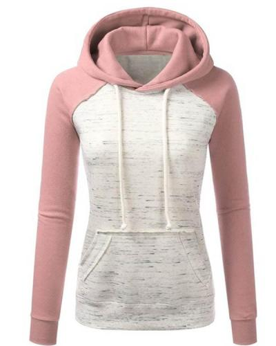 Cotton-blend Variegated Contrast Fleece Hoodie Sweatshirt