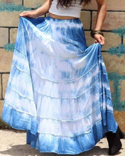 Casual Tie Dye Print Elastic Waist Maxi Skirt