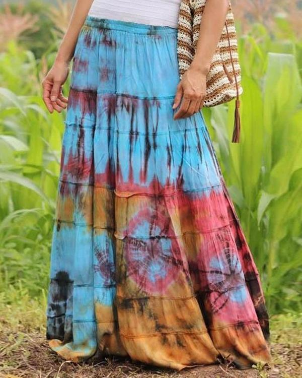 Vintage Tie Dye Solid Casual Drawstring Skirt