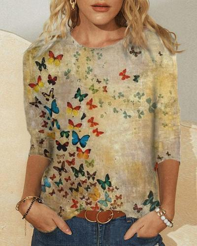 Women Vintage Butterfly Long Sleeve Shirts&Tops