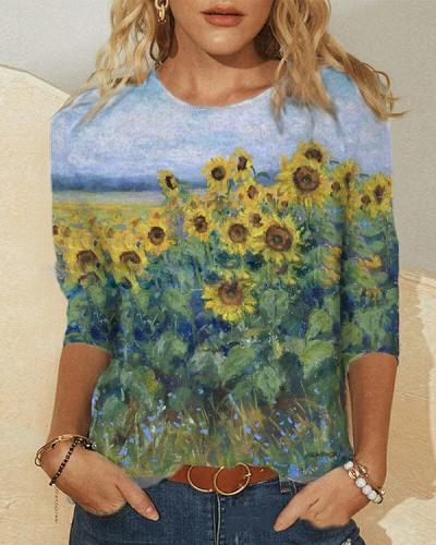 Women Artistic Nature Print Long Sleeve Shirts&Tops