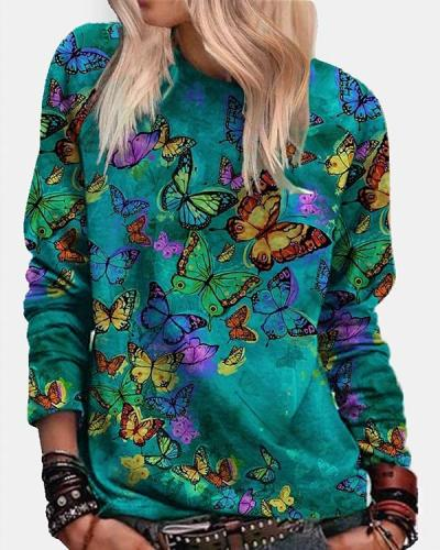 Women Butterfly Crew Neck Blue Shirts&Tops