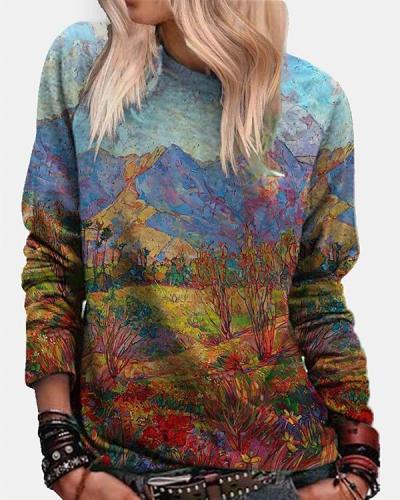Women Landscape Art Print Crew Neck Shirts&Tops
