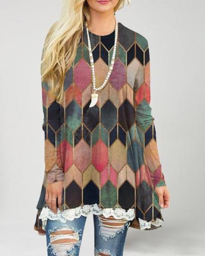 Women Casual A-Line Mini Dress Lace Hem Tops & Shirts