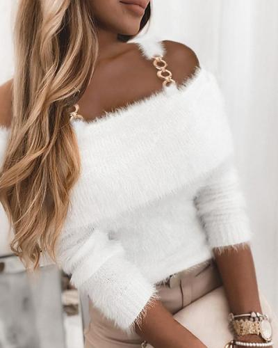 White Cold Shoulder Chain Strap Elegant Sweaters