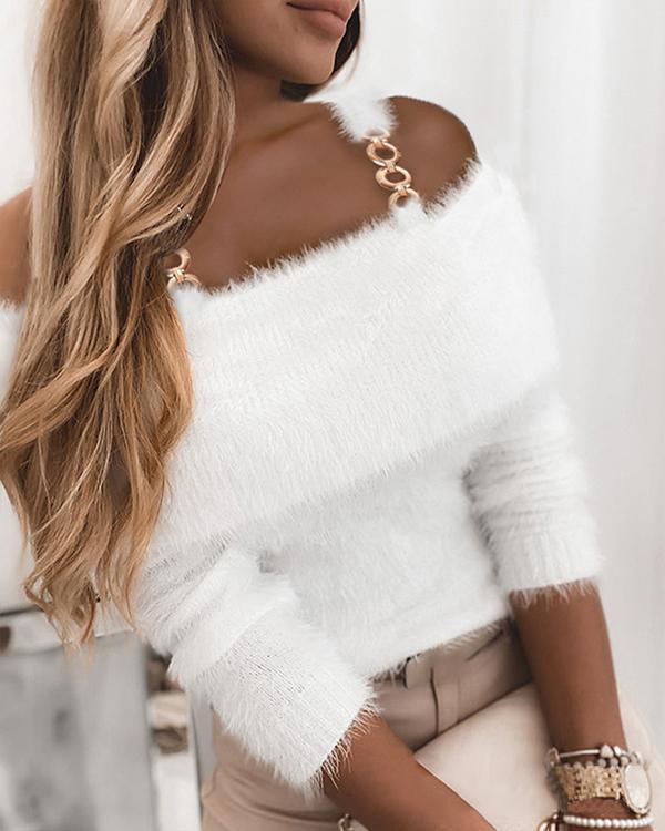 White Cold Shoulder Chain Strap Elegant Sweaters