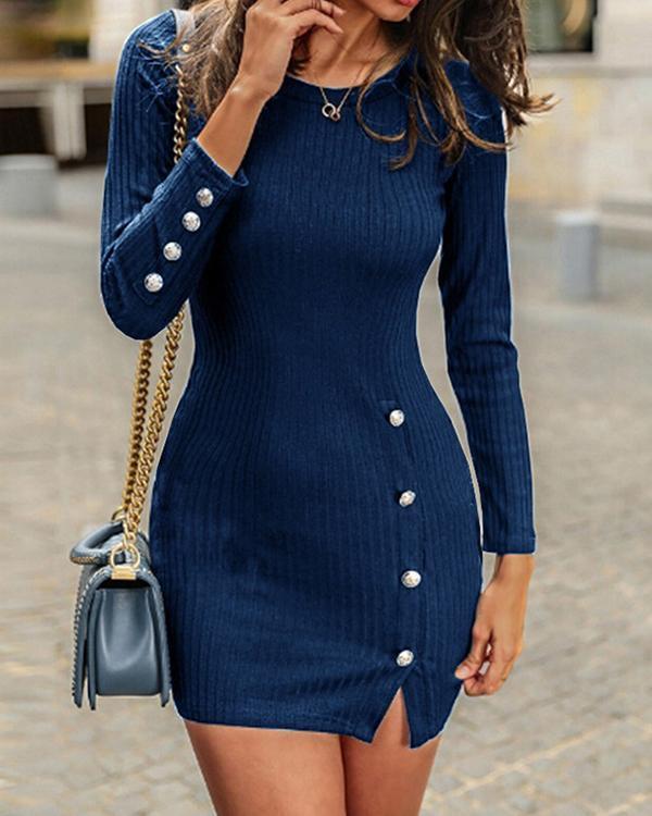 Sexy O Neck Bodycon Rib Sweater Dresses