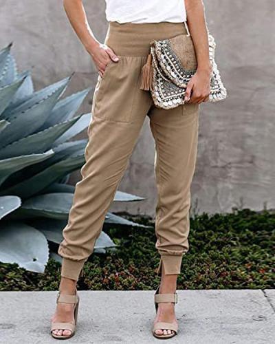Elegant Women Elastic High Waist Jogger Pants
