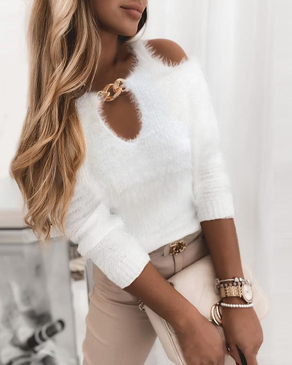 Solid Cold Shoulder Chain Decor Elegant Sweaters