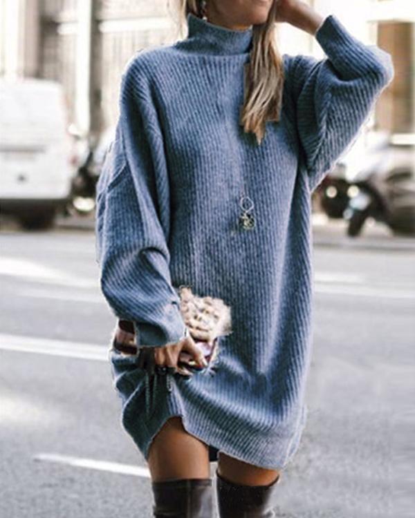 Trendy Patchwork Sweety Sweater Dress