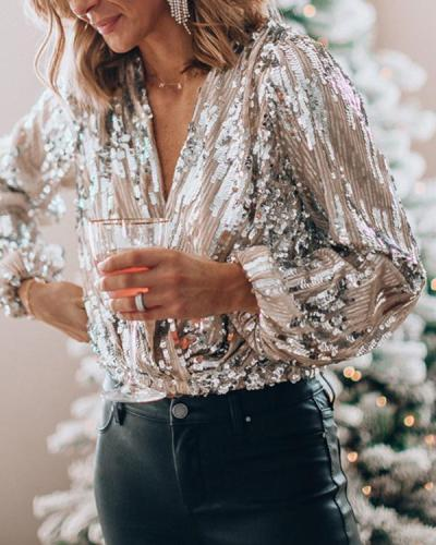 Sequined V Neck Sexy Blouse