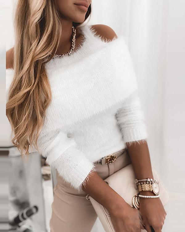 Solid Cold Shoulder Furry Elegant Sweaters