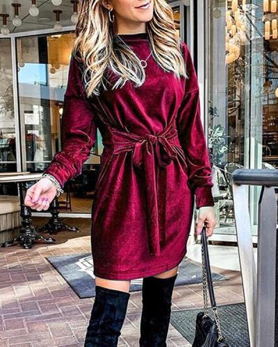 Velvet Belt Elegant Long Sleeve Dress