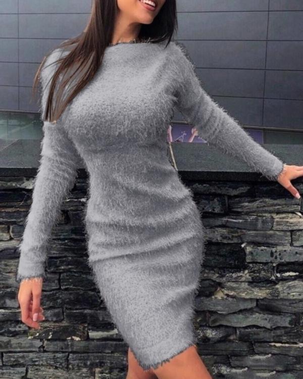 Trendy Bodycon Long Sleeve Dress