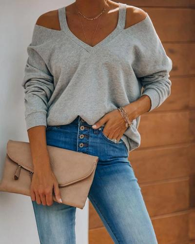 Casual Cotton-Blend Plain Color Cold Shoulder Shirts & Tops