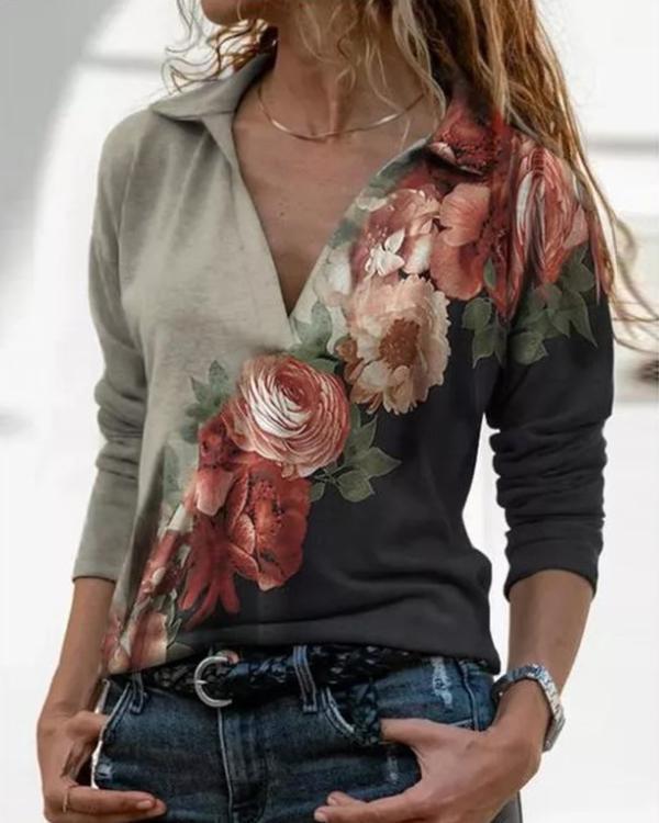 Flower Print Lapel Long Sleeves Casual Blouses