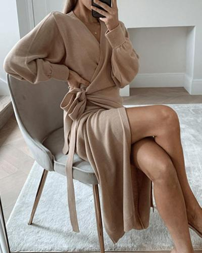 Trendy V-Neck Knitted Wrap Dress