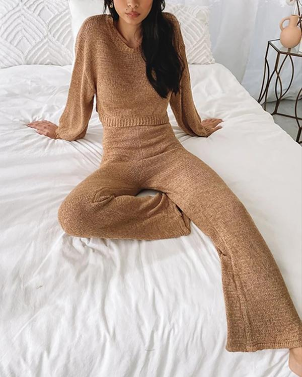 Cozy Knitted Pajama Set Women Camel Sweater&Pants Suit
