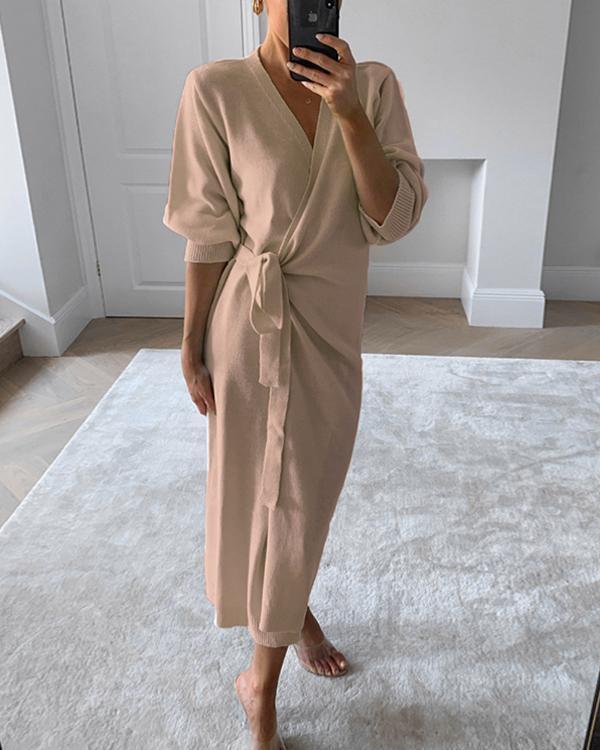 Trendy V-Neck Knitted Wrap Dress