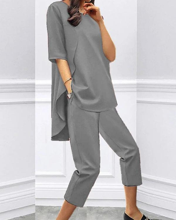 Loose Short-sleeved Casual Cropped Two-piece Suit