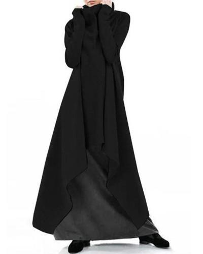 Loose and Irregular Solid Color Turtleneck Pullover Dress