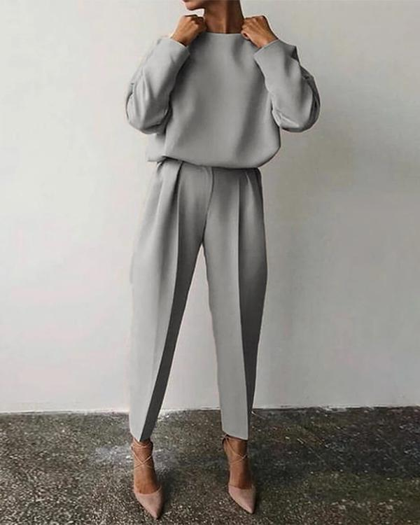 Casual Solid Color Round Neck Suit