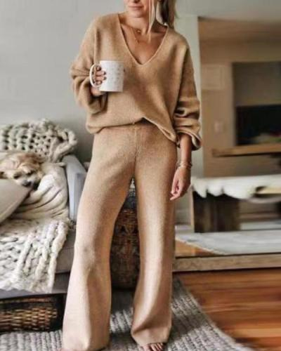 Women'S Casual Plain V-Neck Sweater Lounge Suit