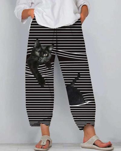 Cat Print Striped Patchwork Elastic Waist Plus Size Pants