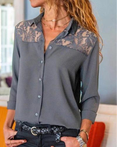 Stylish Pure Lace Gored Lapel Long Sleeve Blouses