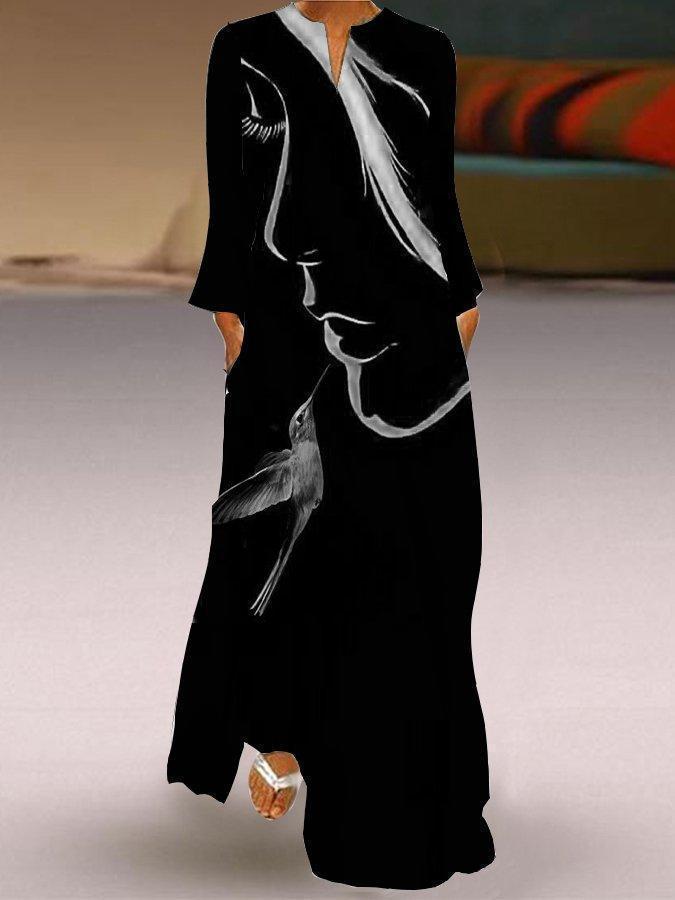 Elegant Girl Print Long Sleeve Maxi Dress