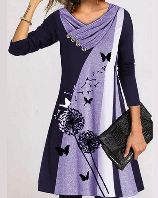 Dandelion Print Stripe Long Sleeve V Neck A-line Dress
