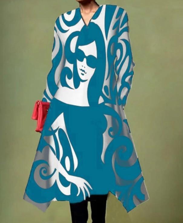 Casual Character Print Irregular A-line Dress