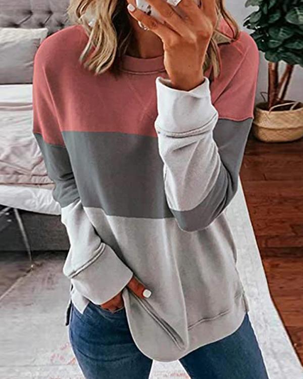 Color Block Crew Neck Long Sleeves Sweatshirt