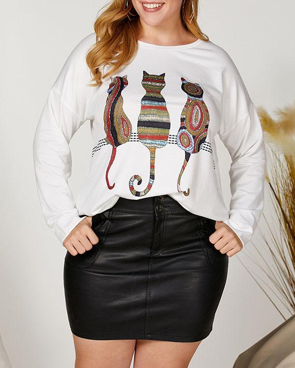 Animal Print Crew Neck Shift Women T-shirt