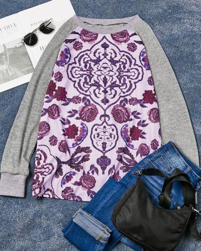 Print Crew Neck Shift Women Long Sleeve Color Block T-shirt