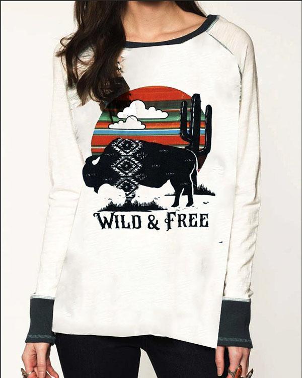 Casual Fashion Wild Free Letter Rhinoceros Cloud Print T-shirt