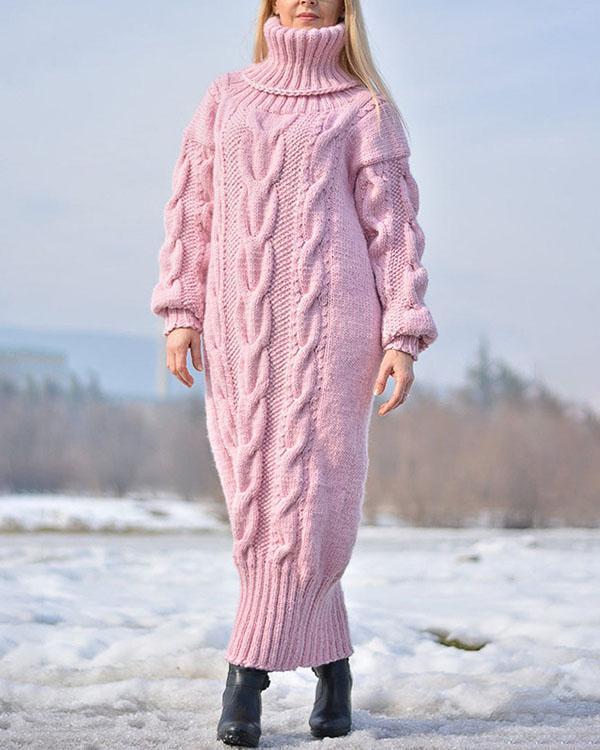 Handmade Wool Dress Solid Color Sweater Long Dress
